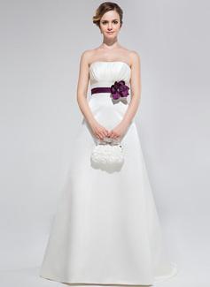 A-Line/Princess Strapless Sweep Train Satin Bridesmaid Dress With Ruffle Sash Flower(s)