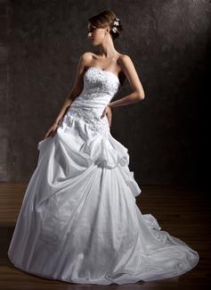 Palloncino Senza spalline Coda a strascico cappella Taffettà Abiti da sposa con Increspature Pizzo Perline Paillettes