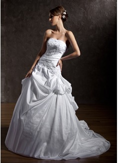 Corte de baile Estrapless La capilla de tren Tafetán Vestido de novia con Volantes Encaje Bordado Lentejuelas