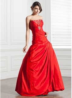 A-Line/Princess Strapless Floor-Length Taffeta Quinceanera Dress With Ruffle Beading Sequins