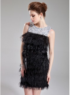 Sheath Scoop Neck Short/Mini Charmeuse Feather Cocktail Dress With Beading Sequins