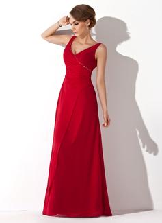 Corte A/Princesa Escote en V Vestido Chifón Dama de honor con Volantes Bordado