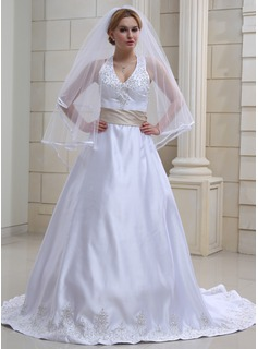A-Line/Princess Halter Chapel Train Satin Wedding Dress With Embroidered Sash Beading