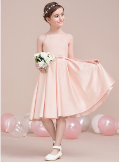 A-Line/Princess Square Neckline Floor-Length Satin Junior Bridesmaid Dress With Bow(s)
