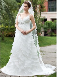 Empire V-neck Chapel Train Satin Organza Wedding Dress With Beading Flower(s) Cascading Ruffles