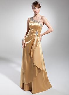 A-Linie/Princess-Linie Bodenlang Charmeuse Abendkleid mit Rüschen Perlen verziert Pailletten