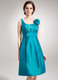 Vestidos princesa/ Formato A Decote redondo Joelho de comprimento Tafetá Vestido de madrinha com Pregueado fecho de correr