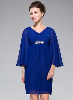 Imperialna Dekolt w Serek Krótka/Mini Chiffon Suknia dla Mamy Panny Młodej Z Żabot Perełki