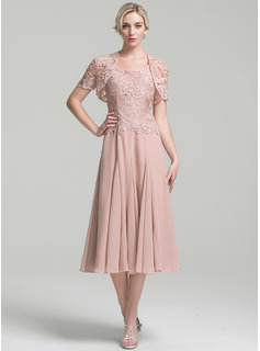 A-Line/Princess Square Neckline Tea-Length Chiffon Mother of the Bride Dress