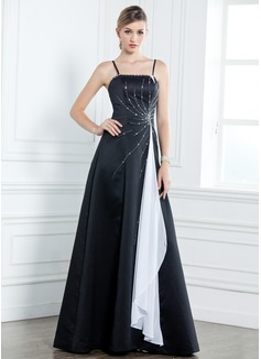 A-Linie/Princess-Linie Bodenlang Satin Kleid für die Brautmutter mit Schleifenbänder/Stoffgürtel Perlen verziert Gestufte Rüschen