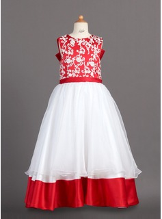 A-Line/Princess Scoop Neck Floor-Length Organza Charmeuse Flower Girl Dress With Lace
