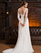 A-Line/Princess Scoop Neck Court Train Chiffon Lace Wedding Dress With Ruffle Beading Sequins (002056220)