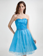 A-Line/Princess Sweetheart Knee-Length Tulle Lace Homecoming Dress With Beading Sequins (022015853)