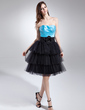 Empire Sweetheart Knee-Length Taffeta Tulle Homecoming Dress With Flower(s) Cascading Ruffles (022015726)