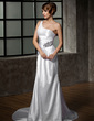 Sheath/Column One-Shoulder Court Train Charmeuse Wedding Dress With Ruffle Beading (002011919)