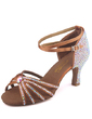 Women's Satin Sandals Pumps Latin With Rhinestone Ankle Strap Buckle Dance Shoes (053026928)