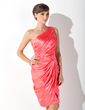 Sheath/Column One-Shoulder Knee-Length Charmeuse Mother of the Bride Dress With Ruffle (008015137)