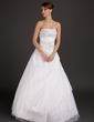 Ball-Gown Strapless Floor-Length Taffeta Wedding Dress With Lace Beading (002015491)