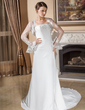 A-Line/Princess Strapless Court Train Chiffon Wedding Dress With Ruffle Lace Beading (002012876)