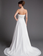 A-Line/Princess Strapless Court Train Chiffon Wedding Dress With Ruffle Beading Sequins (002016163)