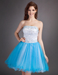 A-Line/Princess Strapless Short/Mini Satin Tulle Homecoming Dress With Beading (022010622)