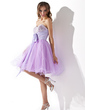 Empire Sweetheart Knee-Length Tulle Homecoming Dress With Ruffle Beading Sequins Bow(s) (022009011)