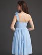 Çan/Prenses Tek-Omuzlu Diz Hizası Chiffon Mezunlar Gecesi Elbisesi Ile Büzgü Çiçek(ler) (022010630)