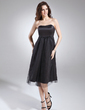 Empire Sweetheart Knee-Length Satin Maternity Bridesmaid Dress With Ruffle (045004405)