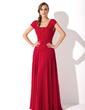A-Line/Princess Square Neckline Floor-Length Chiffon Mother of the Bride Dress With Ruffle Beading (008006086)
