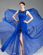 A-Line/Princess Scoop Neck Court Train Chiffon Evening Dress With Ruffle Split Front (017019766)