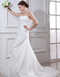 Trumpet/Mermaid Sweetheart Court Train Taffeta Wedding Dress With Ruffle Beading Appliques Lace (002012668)