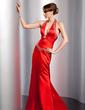 Sheath/Column Halter Floor-Length Charmeuse Evening Dress With Ruffle Beading (017014763)