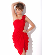 Sheath/Column One-Shoulder Knee-Length Chiffon Cocktail Dress With Ruffle Flower(s) (016005265)
