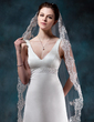 Sheath/Column V-neck Court Train Satin Wedding Dress With Beading (002012749)
