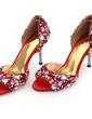 Kvinnor Satäng Cone Heel Peep Toe Sandaler med Strass Kristall Heel (047031209)