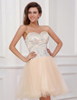 A-Line/Princess Sweetheart Knee-Length Tulle Homecoming Dress With Beading (022017324)