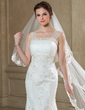 Trumpet/Mermaid Scalloped Neck Court Train Tulle Wedding Dress With Ruffle Lace Beading (002012764)