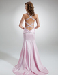 Trumpet/Mermaid Sweetheart Sweep Train Charmeuse Evening Dress With Beading Split Front (017016358)
