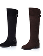 Suede Low Heel Knee High Boots With Buckle shoes (088032994)