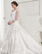 Ball-Gown V-neck Chapel Train Satin Wedding Dress With Beading Appliques Lace (002012846)