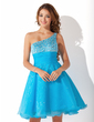 A-Line/Princess One-Shoulder Knee-Length Organza Homecoming Dress With Ruffle Beading Sequins (022010900)