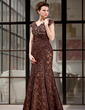 Trumpet/Mermaid V-neck Floor-Length Lace Mother of the Bride Dress With Beading (008018983)