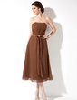 A-Line/Princess Strapless Tea-Length Chiffon Bridesmaid Dress With Ruffle Beading Bow(s) (007001095)