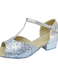 Kids' Leatherette Sparkling Glitter Heels Sandals Latin With T-Strap Dance Shoes (053013374)