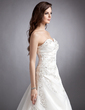 Ball-Gown Sweetheart Court Train Satin Organza Wedding Dress With Ruffle Beading Appliques Lace (002000428)