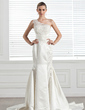 Trumpet/Mermaid One-Shoulder Chapel Train Satin Wedding Dress With Lace Beading (002000683)