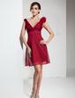 Forme Princesse Col V Court/Mini Mousseline Robe de demoiselle d'honneur avec Fleur(s) (007004209)