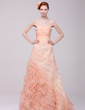 A-Line/Princess Strapless Sweep Train Organza Prom Dress With Ruffle Cascading Ruffles (018016218)