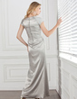 Sheath/Column Cowl Neck Ankle-Length Charmeuse Mother of the Bride Dress With Lace (008005292)