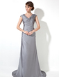 Sheath/Column V-neck Sweep Train Charmeuse Mother of the Bride Dress With Ruffle Appliques Lace (008017375)